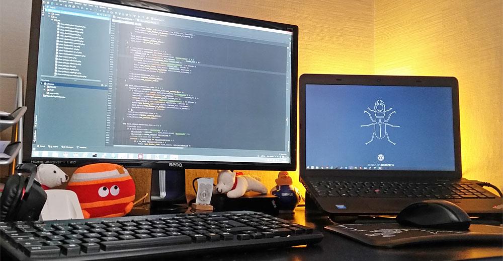 Der Quellcode verrät den Entwickler: Daniels Arbeitsplatz
