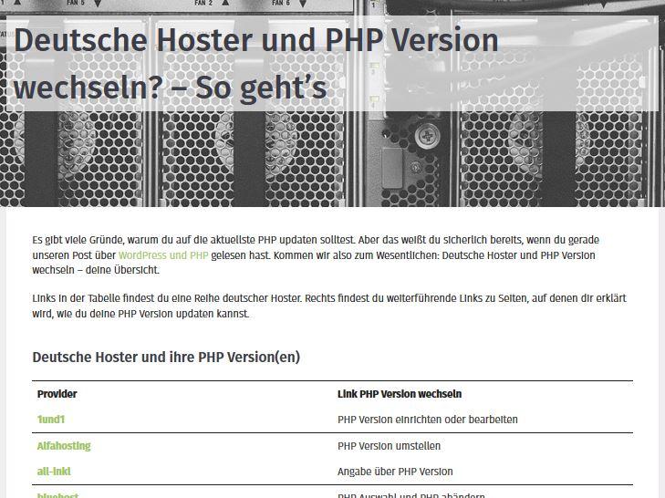 PHP Version umstellen: Informationen einholen bei der Liste deutscher Hoster.