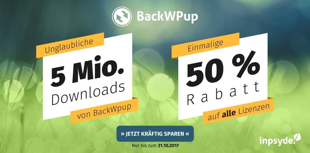 BackWPup 5 Millionen Downloads, die gefeiert werden wollen!