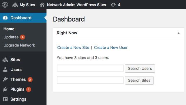 Benutzeroberfläche des Multisite Netzwerk Admin Dashboards