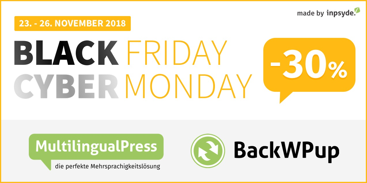 Black Friday und Cyber Monday Rabatt 2018 auf MultilingualPress.