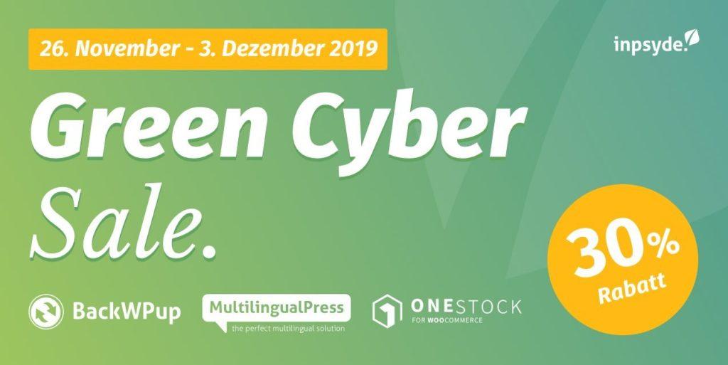 Green Cyber Sale: 30% Rabatt auf BackWPup, MultilingualPress, OneStock für WooCommece