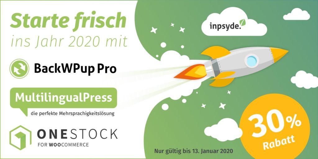 Fresh Start Sale: 30% auf BackWPup, MultilingualPress und OneStock für WooCommerce