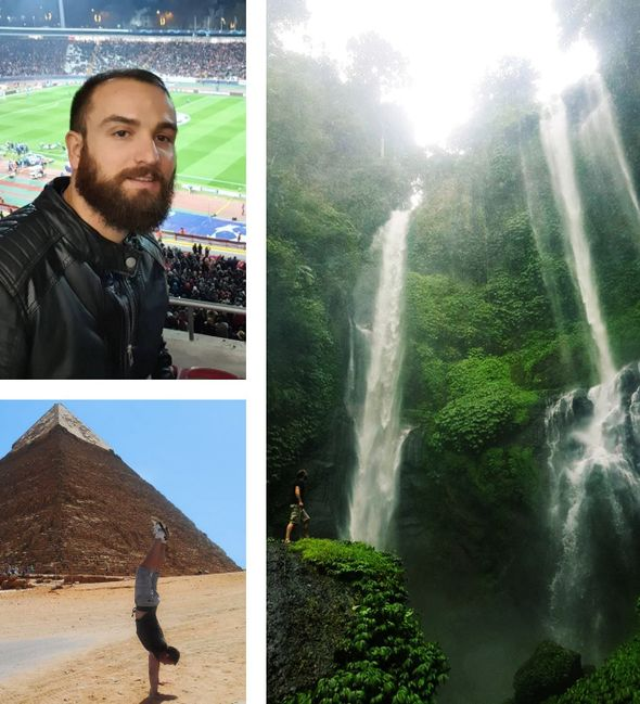 Inpsyde Quality Assurance Manager Daniel Fizešan in the stadium and on his travels making a handstand in front of a pyramid