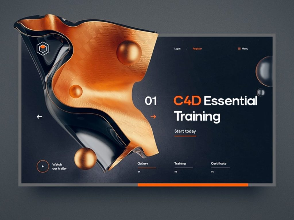 shiny metals web design trend 2020