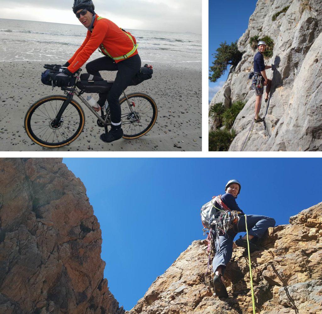 Frank Bültge beim Klettern und Fahrradfahren