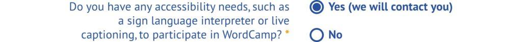 Feld zur Abfrage von speziellen Bedürfnissen bei der Anmeldung zu WordCamp Europe Online 2020