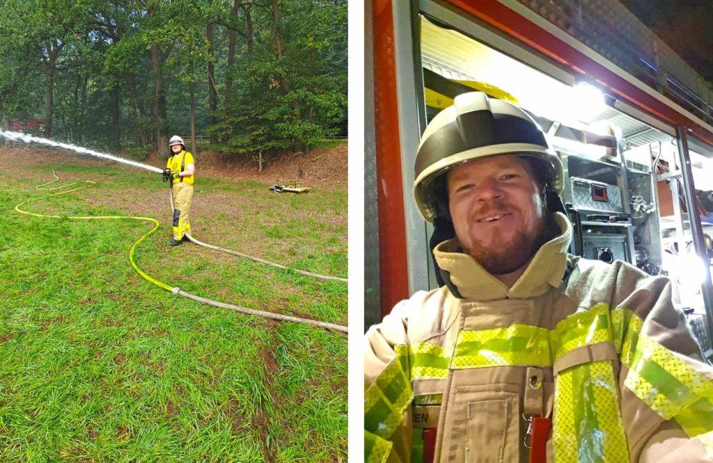 Inpsyder Daniel Hüsken bei seiner Arbeit als Freiwilliger Feuerwehrmann