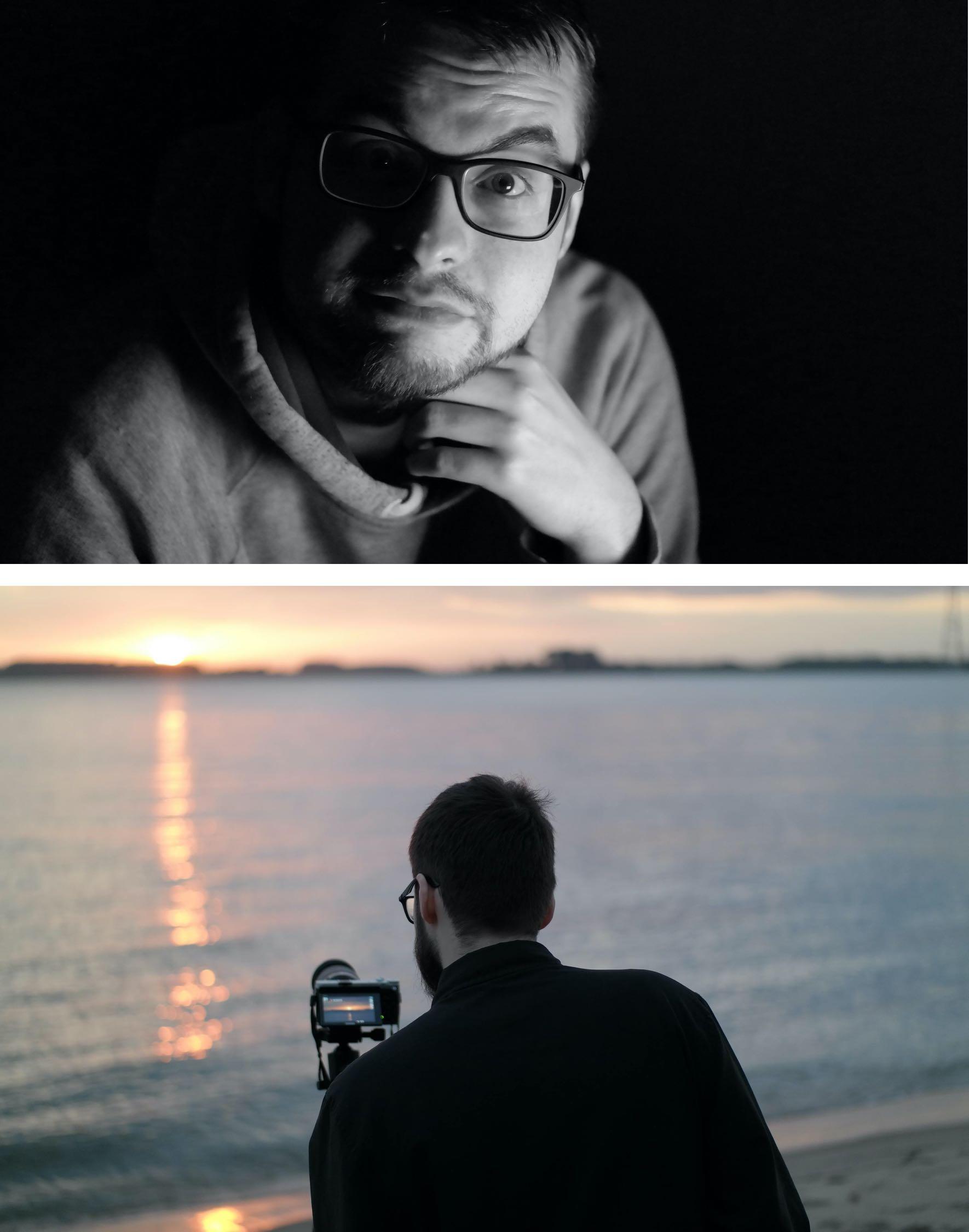 Auf dem ersten Bild posiert Niklas vor der Kamera. Auf dem zweiten Bild hält Niklas eine Kamera in der Hand und fotografiert einen wunderschönen Sonnenuntergang.