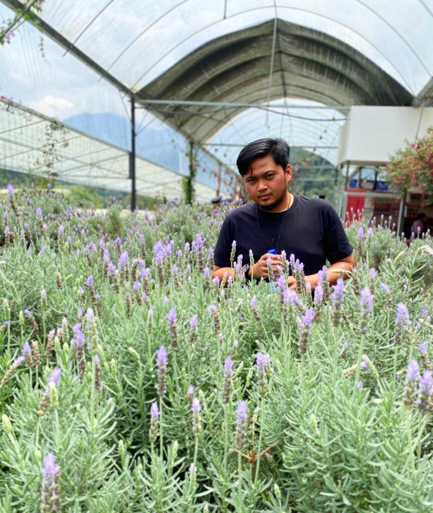 Das Bild zeigt Akmal in einem Lavendel-Feld.