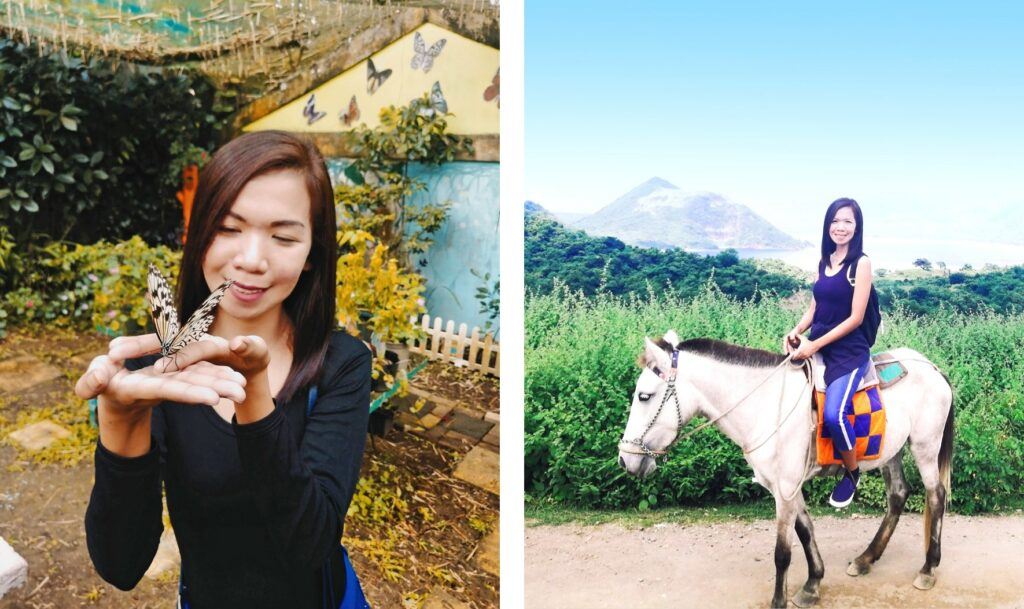 This collage shows two pictures. On the left you see a butterfly sitting on Charisse's hands. On the right you can see Charisse sitting on a horse. In the background there are bushes and a mountain.