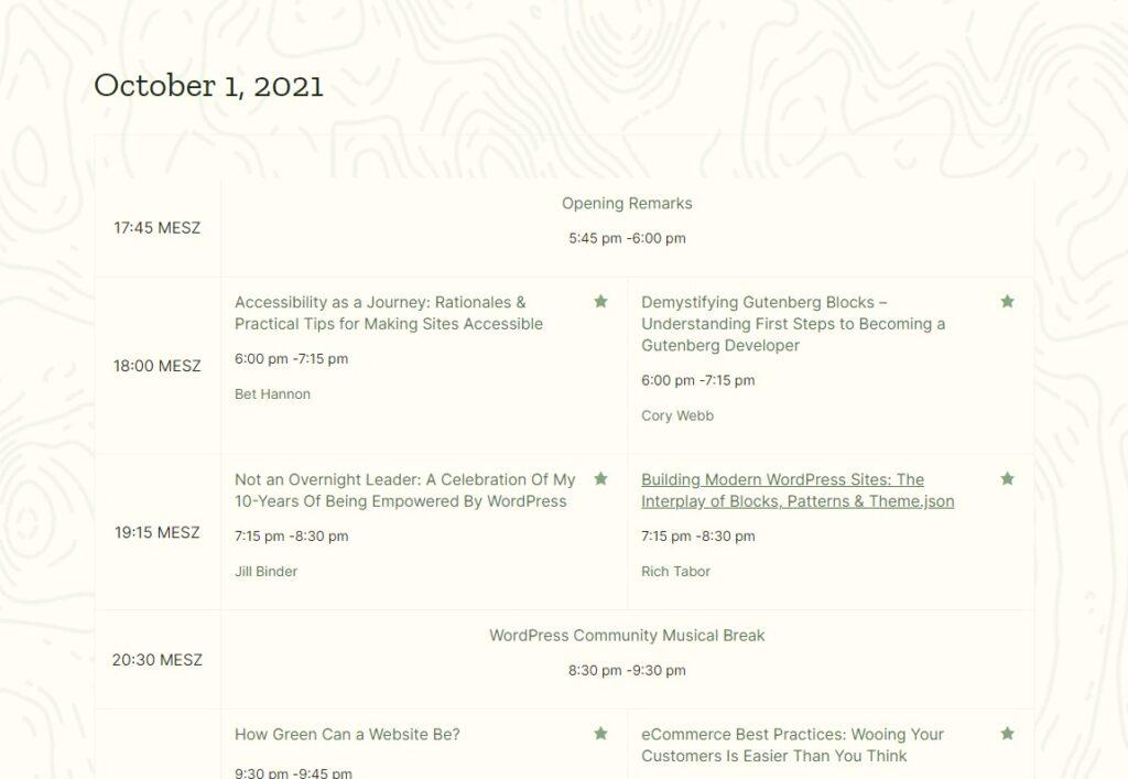 WCUS 21 Schedule
