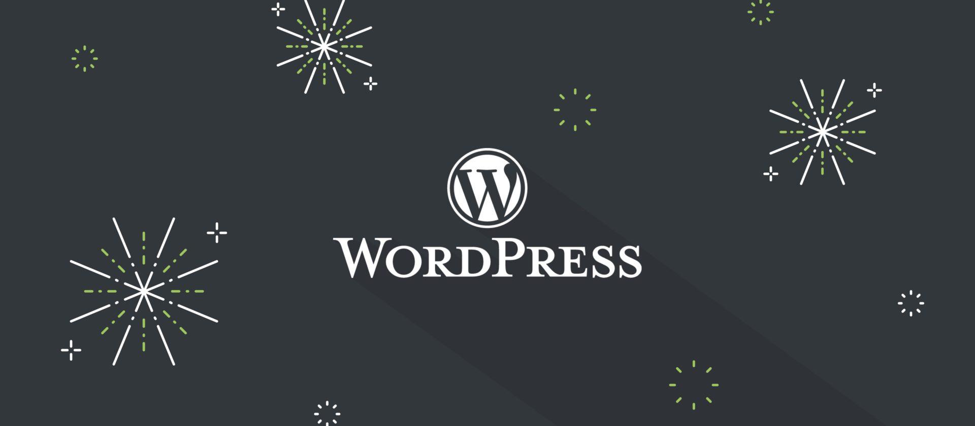 WordPress logo with firework