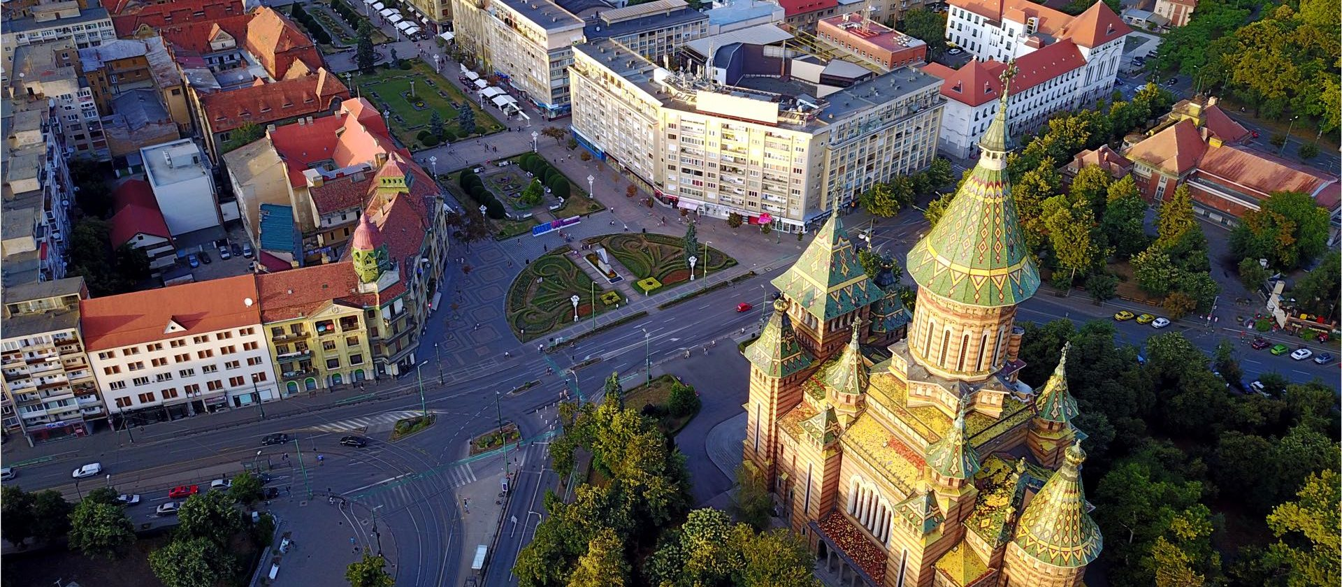 Streets of Timisoara from above, home of Inpsyde WordPress Engineer Róbert Mészáros
