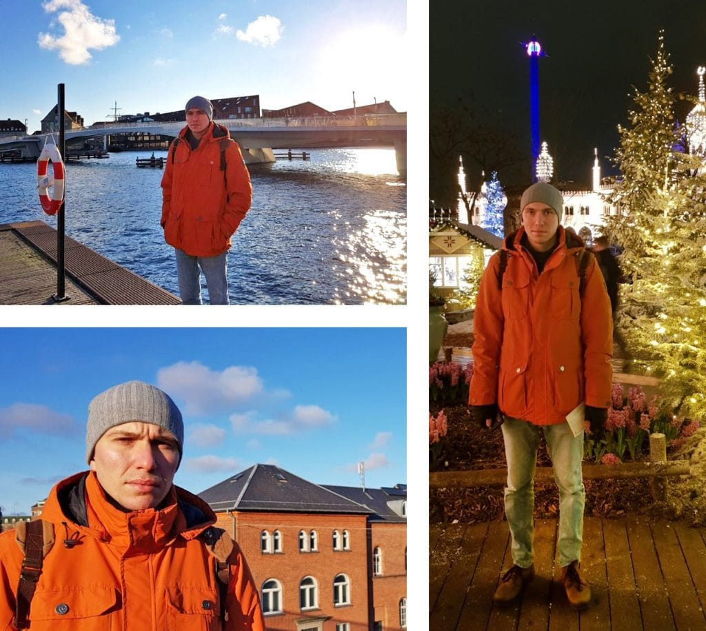 Inpsyder Kirill Braslavskyi at a harbour with a view to a bridge, at a Christmas market and while walking through the city