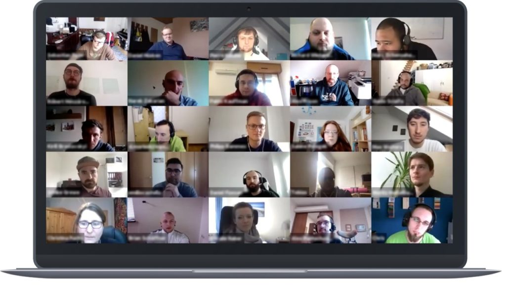 Inpsyders in the home office during the overall meeting