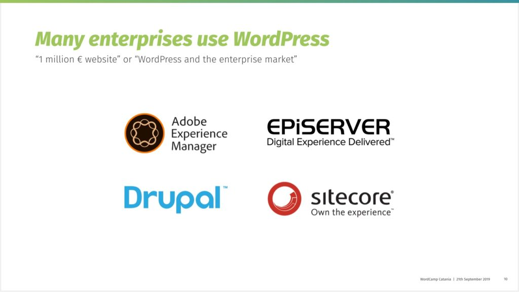 Logos of WordPress competitors in the enterprise market with experience in their name