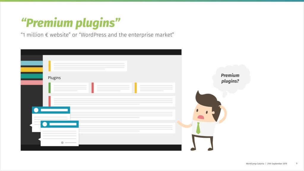 Exemplary WordPress dashboard with many plugin messages