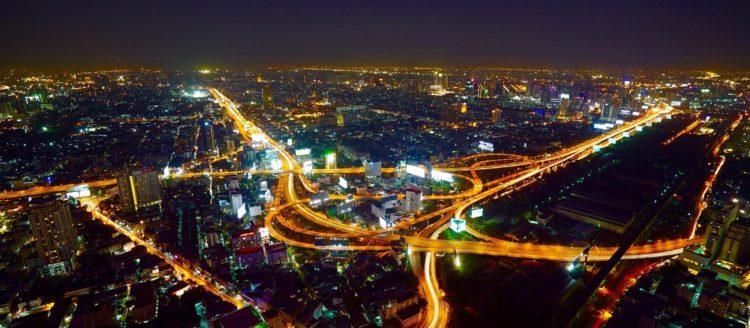Bangkok from above at night