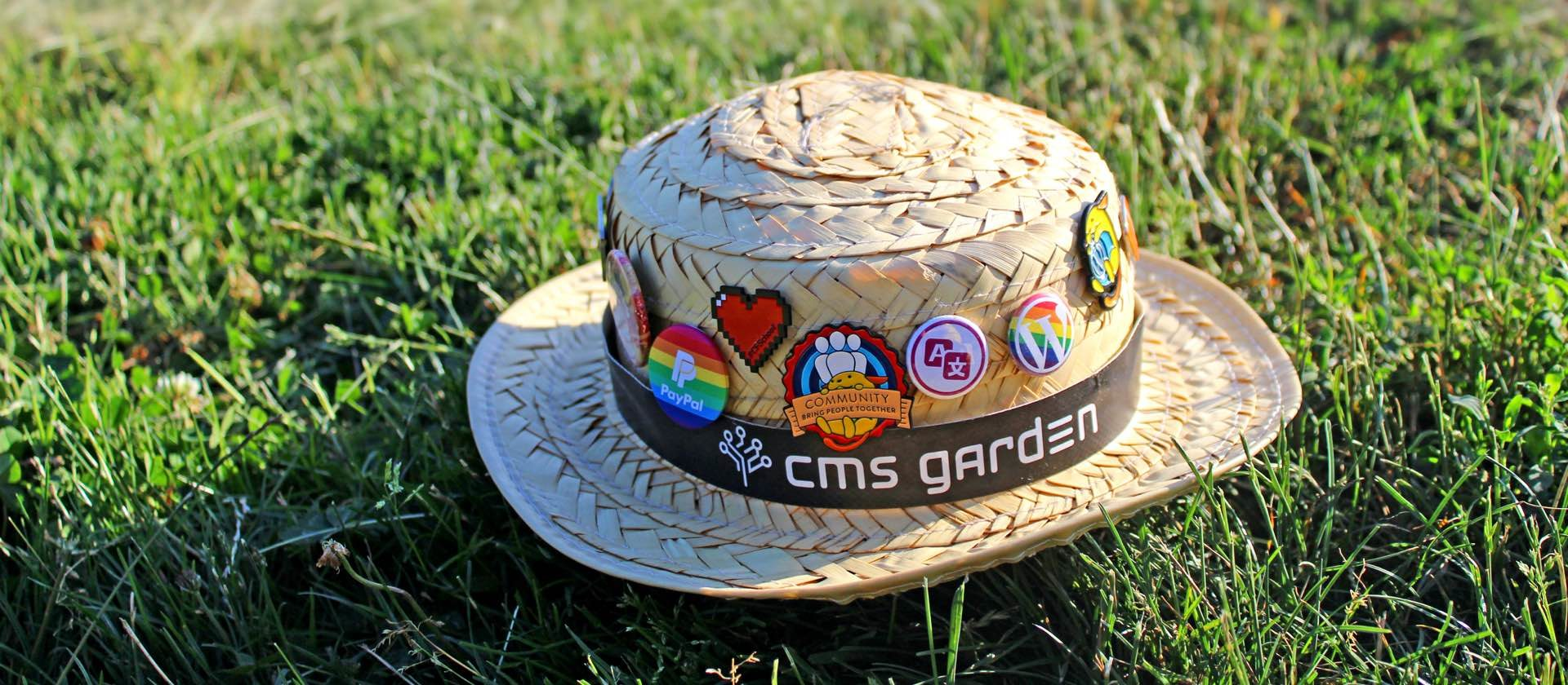 Robert's straw hat in the grass