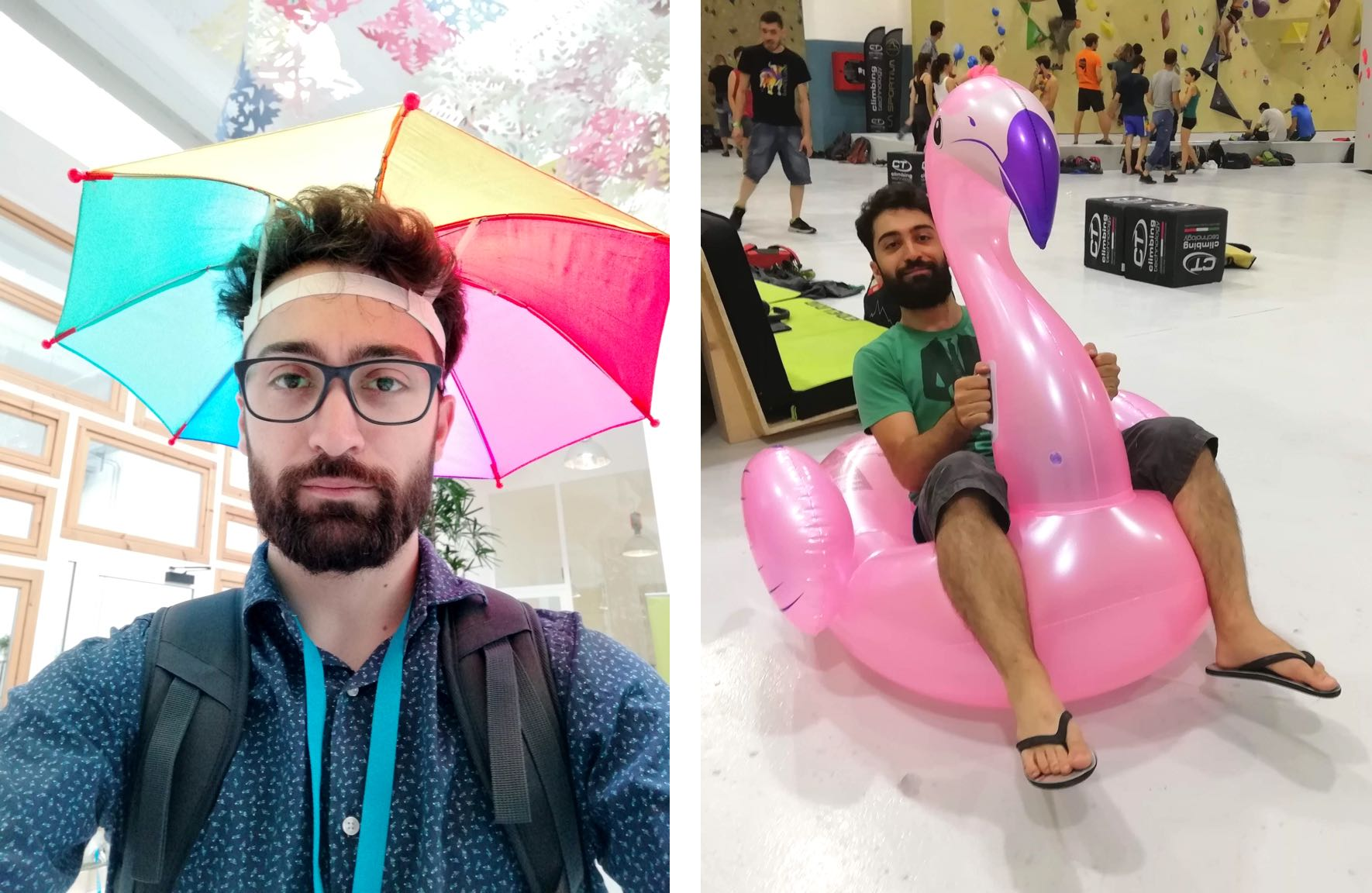 There are two photos. On the left side there is Antonio taking a selfie with a colorful umbrella hat. On the right side, Antonio is sitting on an inflatable Flamingo.