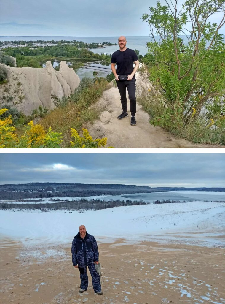 Here are two pictures. On the first one, Stefan is standing smiling in sporty outfit on a hill with the sea in the background. On the second picture, Stefan is wearing a warm snowsuit while standing in a wide snowy landscape with a forest and a frozen lake in the background.