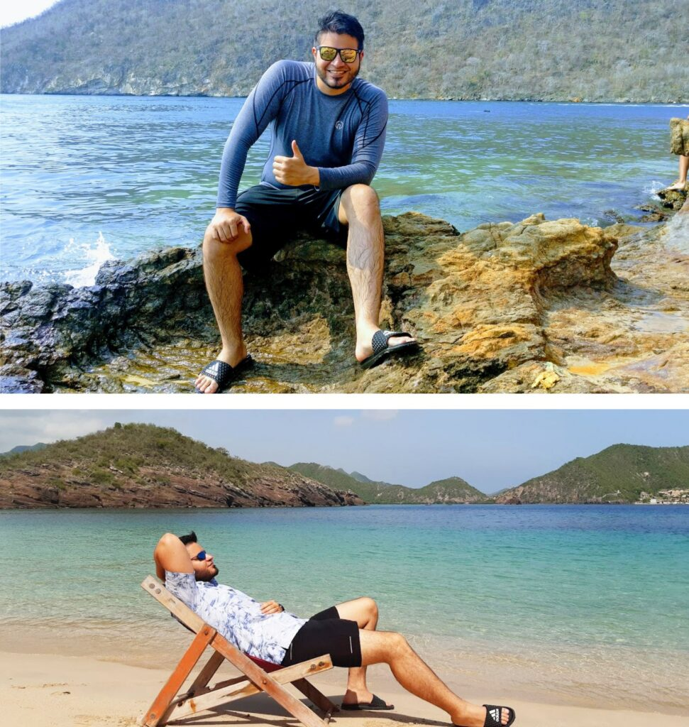 The collage shows two pictures. The upper picture shows Jorge sitting on a rock right by the sea. The lower picture shows him lying on a deck chair on the beach.