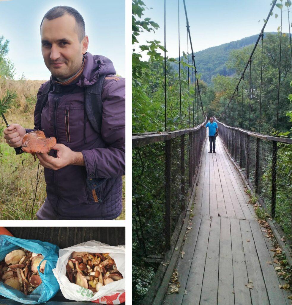 Das Bild zeigt eine Collage aus drei Bildern. Das erste Bild zeigt Vladimir, der gerade Pilze sammelt. Das zweite Bild zeigt einige Tüten mit Pilzen darin und das dritte Bild zeigt ihn stehend auf einer Brücke in der Natur.