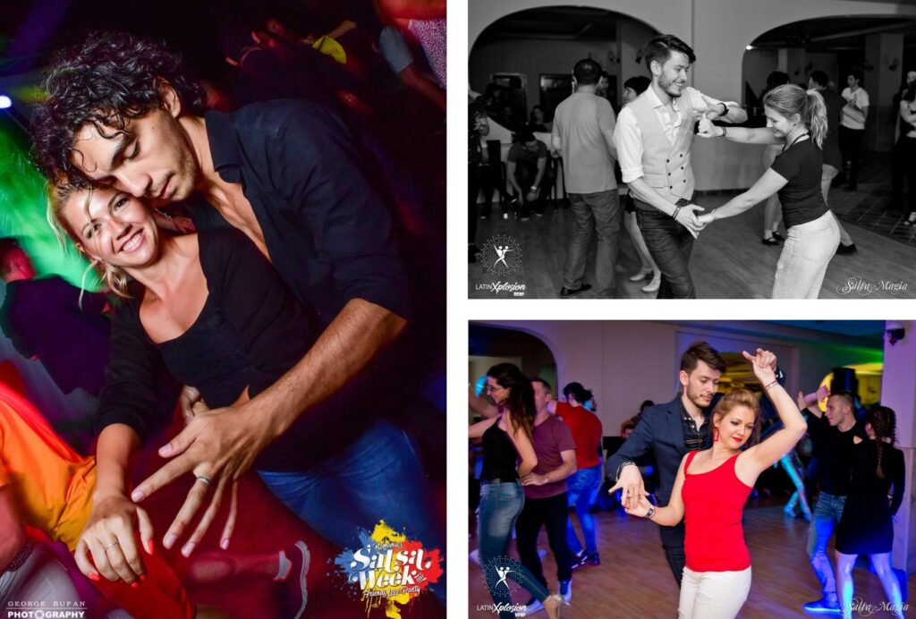 The collage shows three pictures where Olga is dancing salsa.